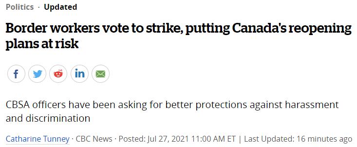 加拿大8500名边境员工准备大罢工!国际快递、包裹要凉!